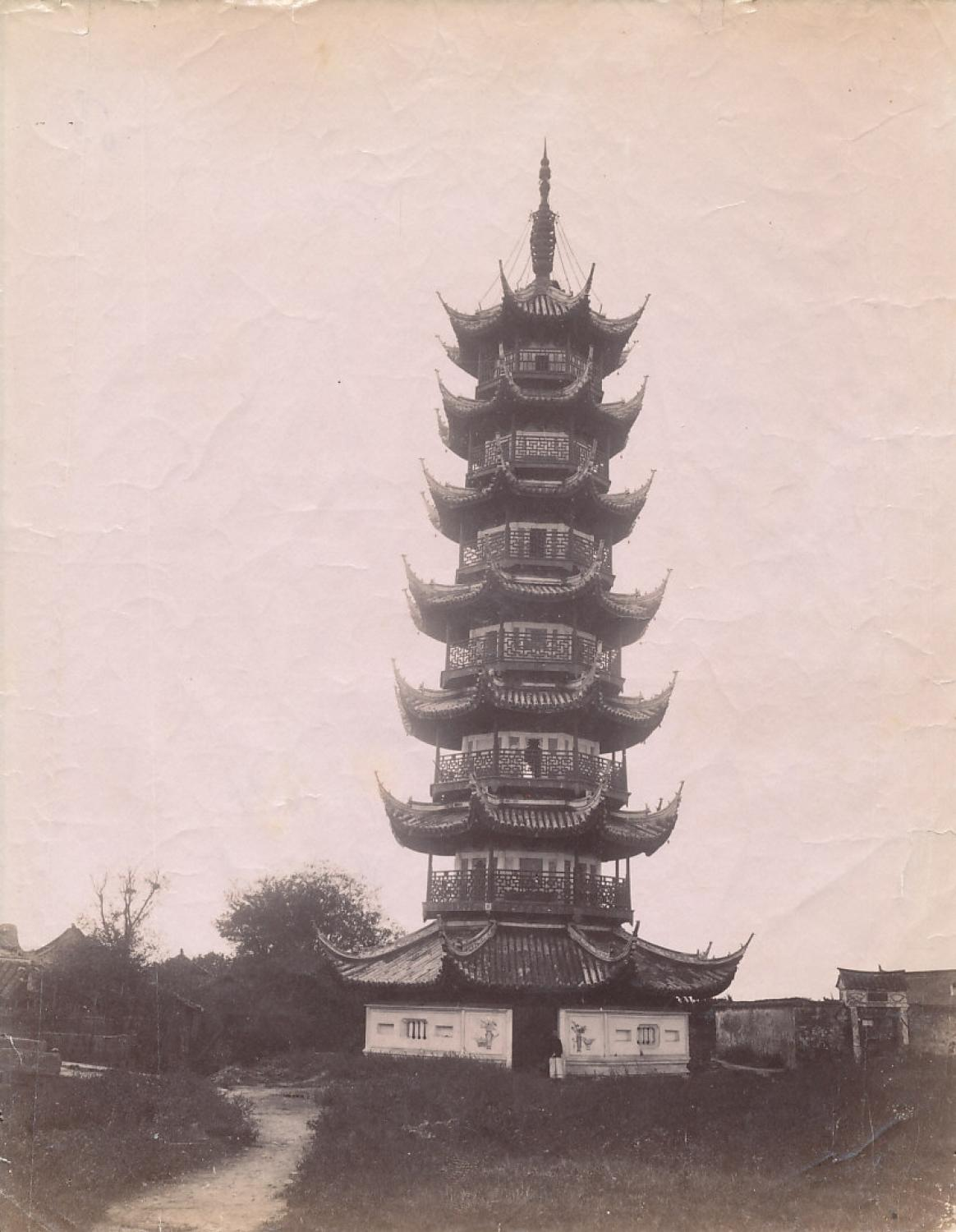 Albumen photo of Shanghai Longhua pagoda