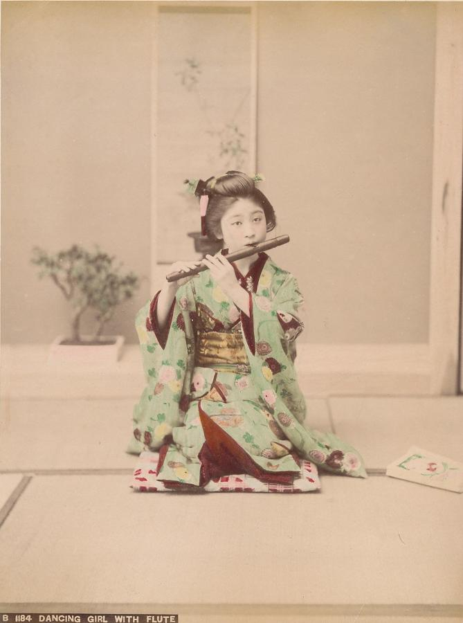 Hand Coloured photo Japanese Dancing Girl