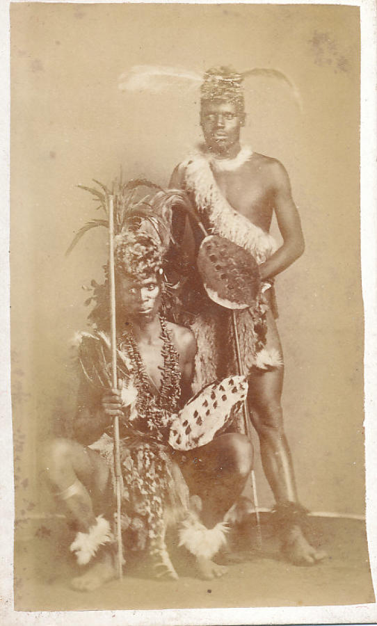 Zulu Warriors Carry Shield and Spears C1870
