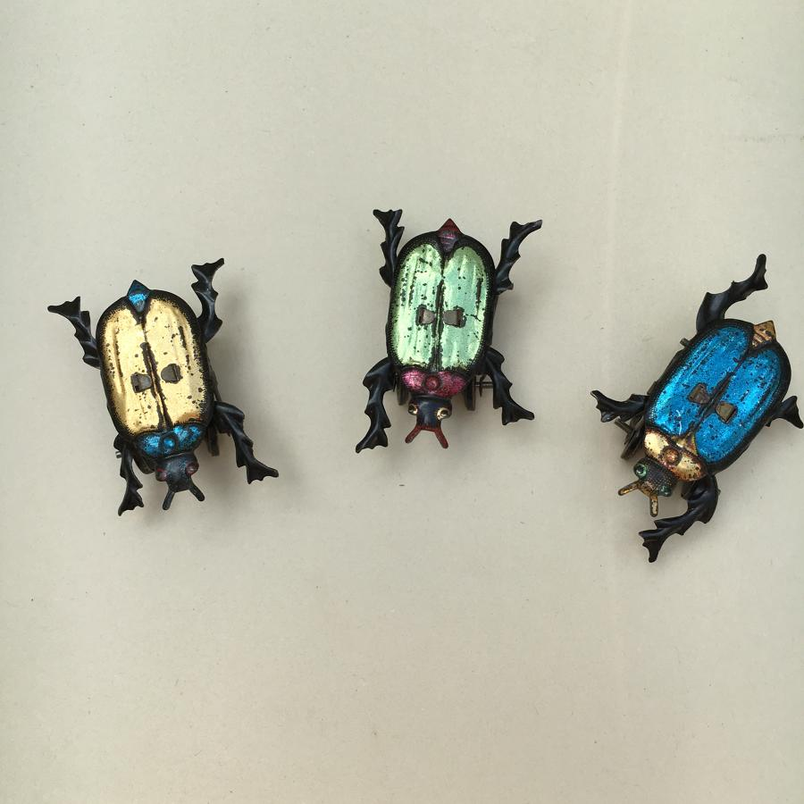 Three Rare Tin Walking Beetle Toys Germany