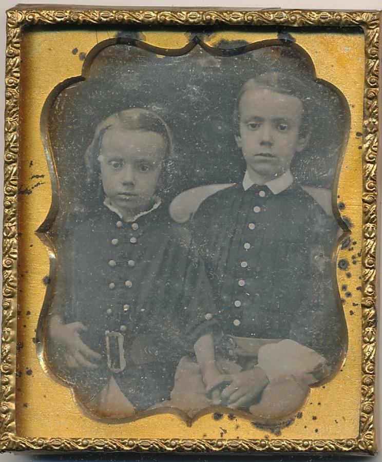 1/6 Plate Daguerreotype of Two Young Brothers
