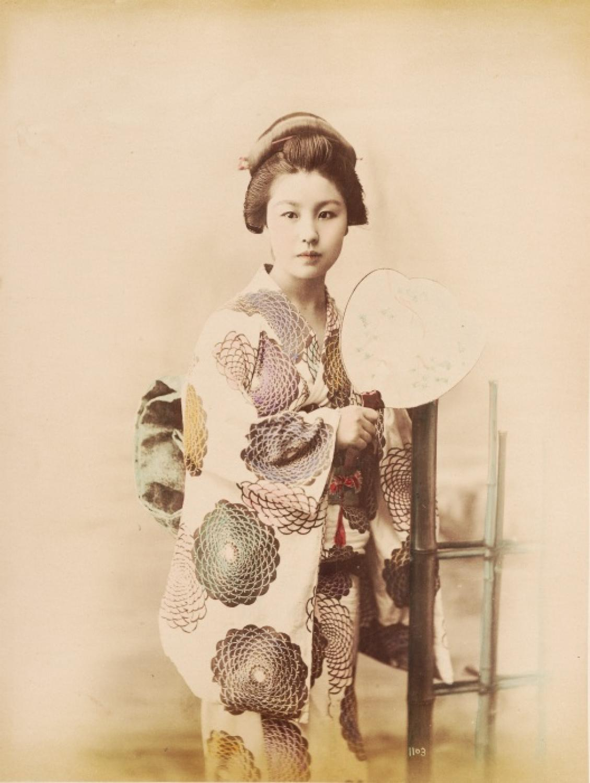 Geisha Girl with Fan Japan C1880