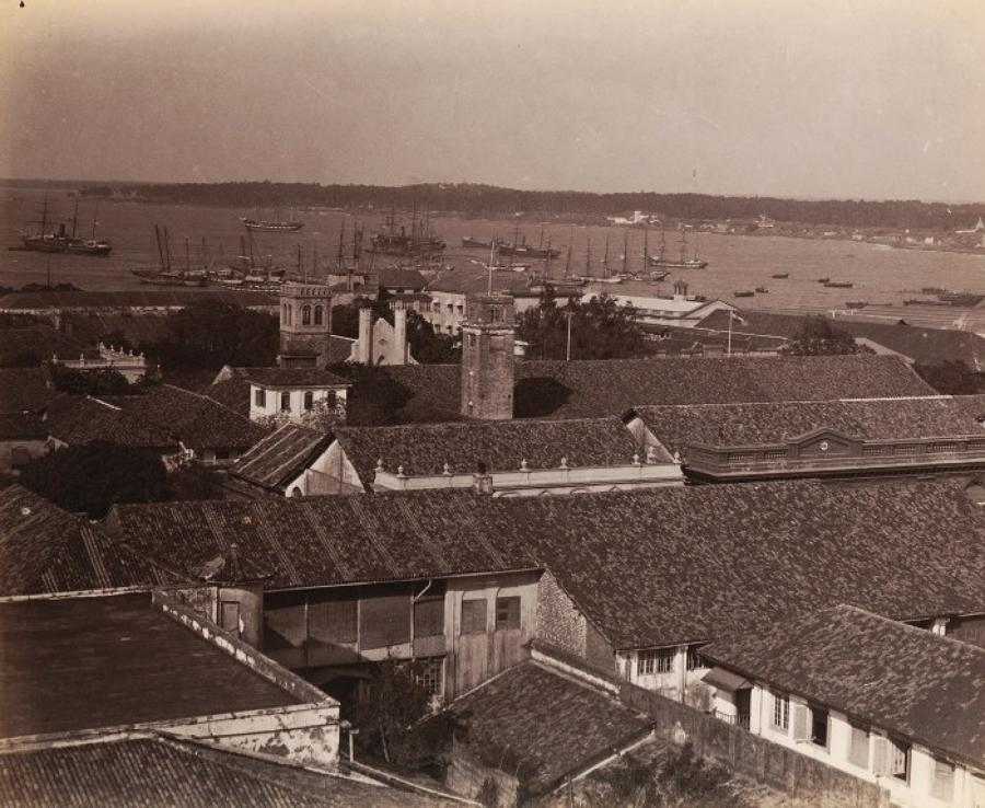 The Harbour .Colombo Ceylon C1880