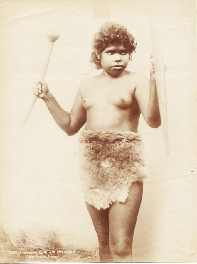 Aboriginal Girl with Club & Shield Australia