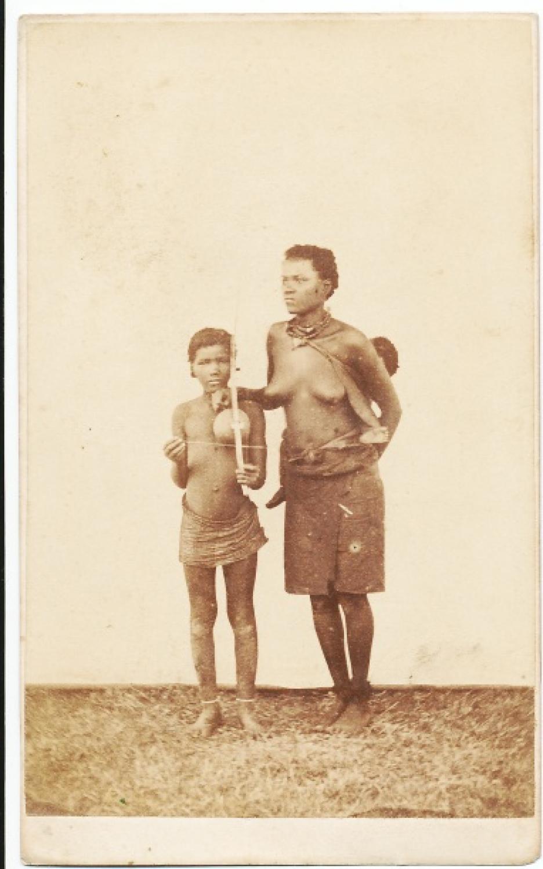 Zulu Mother & Boy South Africa C1885