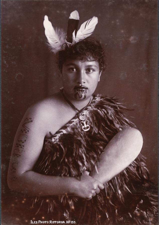 Maori Girl with Moko Tattoo By Iles N.Z.C1890