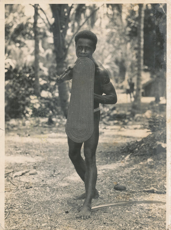 A Solomon Islander with Shield & Spear C1930