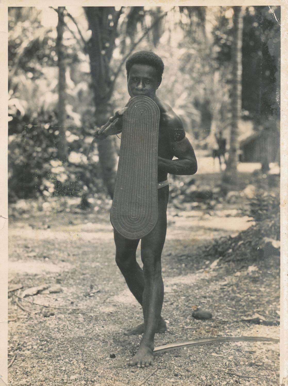 A Solomon Islander with Shield & Spear C1930