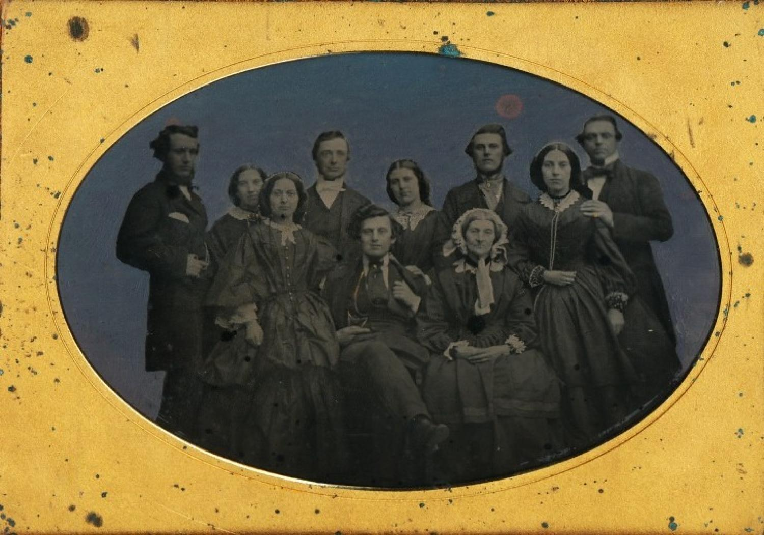 3/4 Plate Ambrotype Family Group of 10 People