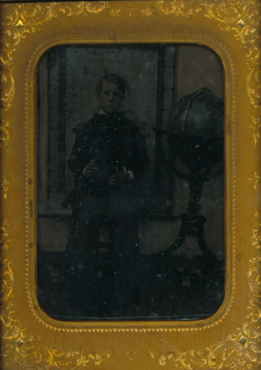 1/4 Plate Ambrotype Boy with standing Globe