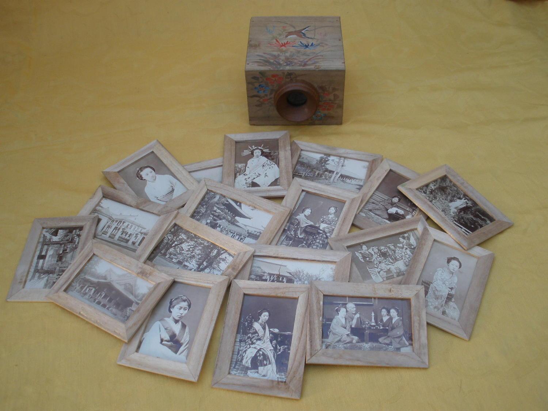 Peep Box with 18 Japanese hold light tinted CDV Photos