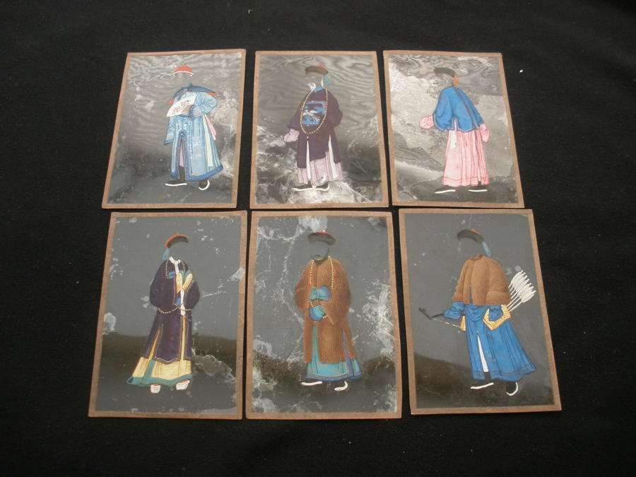 Vear Rare Set of 12 Mica Chinese changing Face Pictures