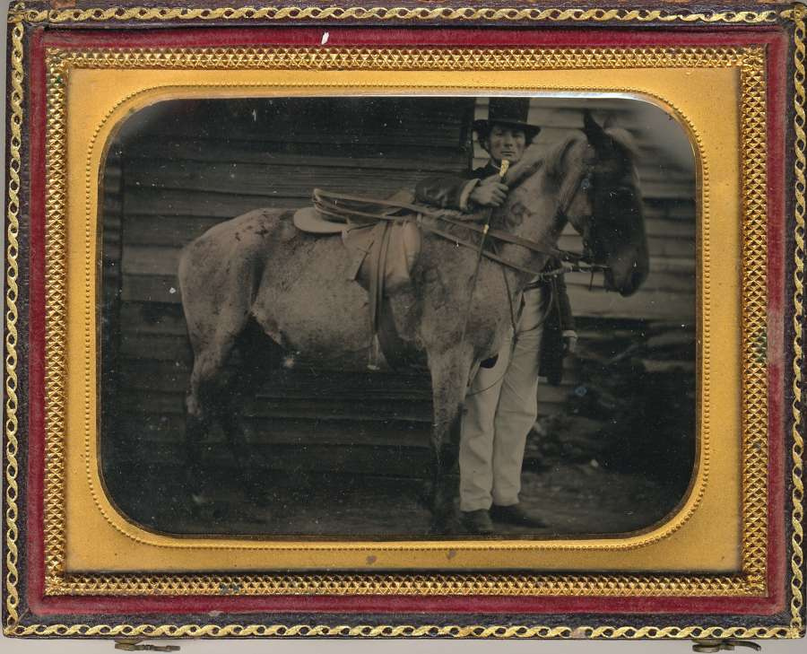 1/4 Plate Hand Tinted Ambrotype of A Gentleman with Horse C1860