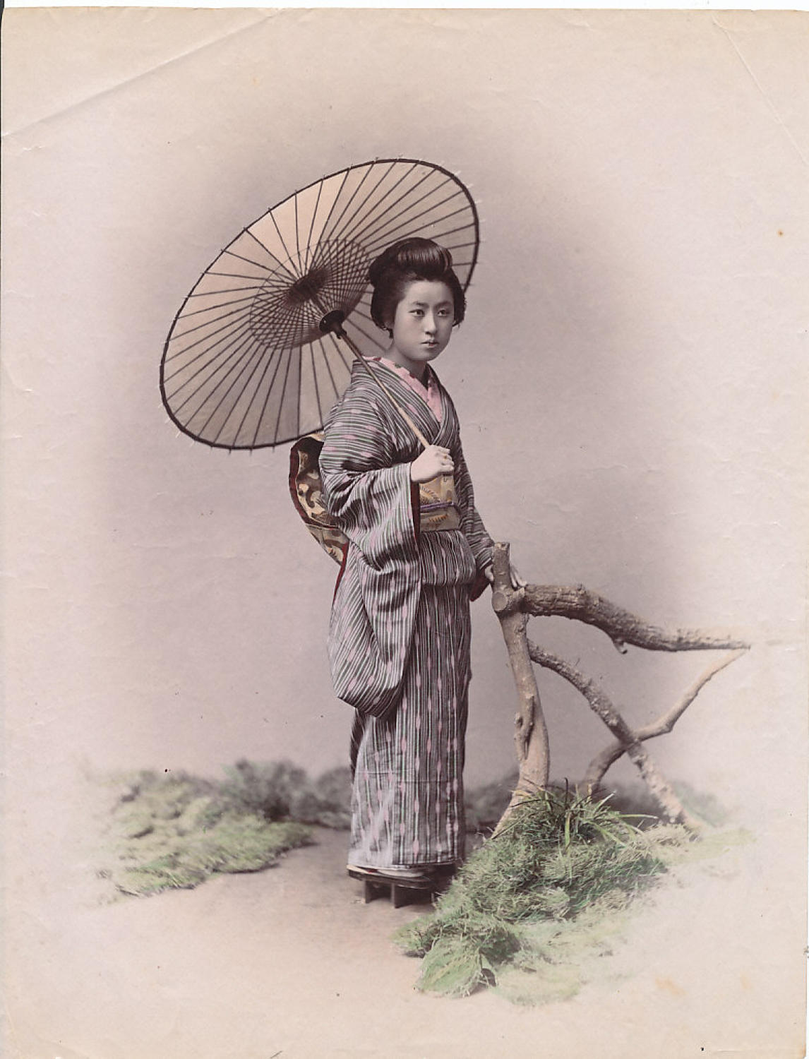 Japanese Girl with Sunshade. Japan C1880