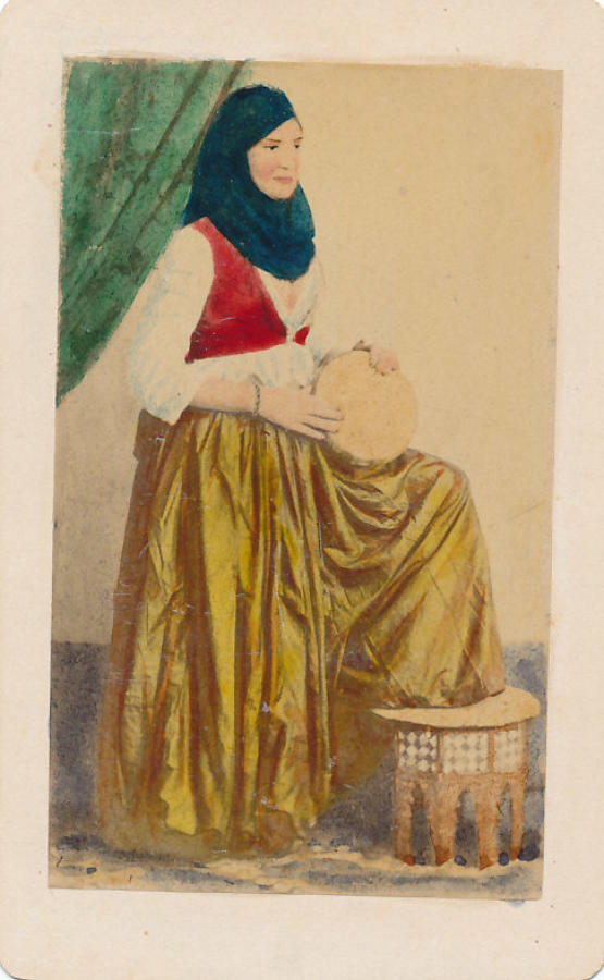 CDV Arab Girl with Tambourine Egypt C1860