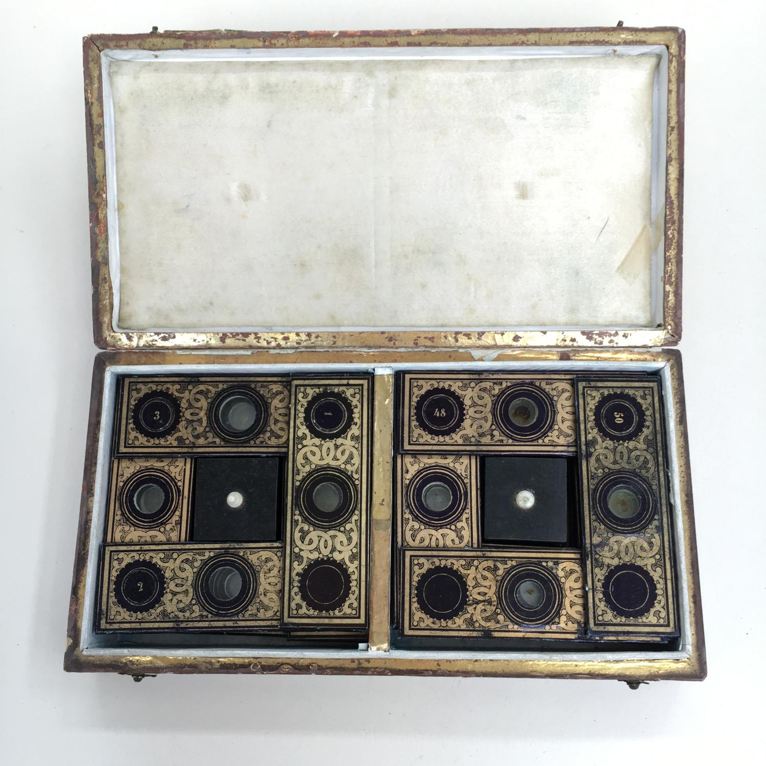 Boxed set of 50 Von Rappard Microscope Slides C1850
