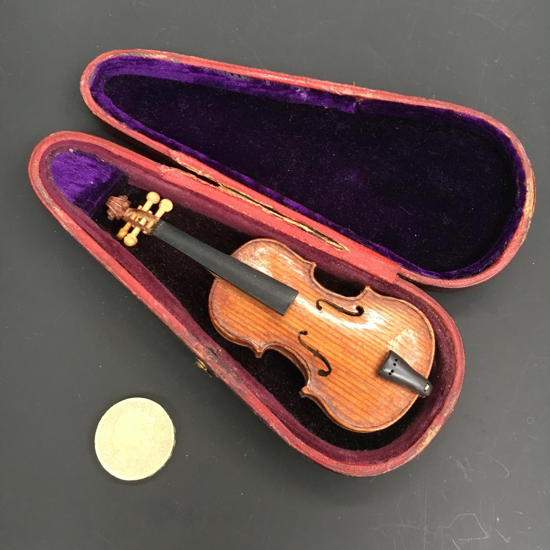 Amazing Miniture Violin in case 19th Century