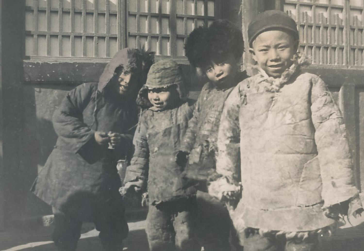 Shansi Boys in Winter Clothes China C1930