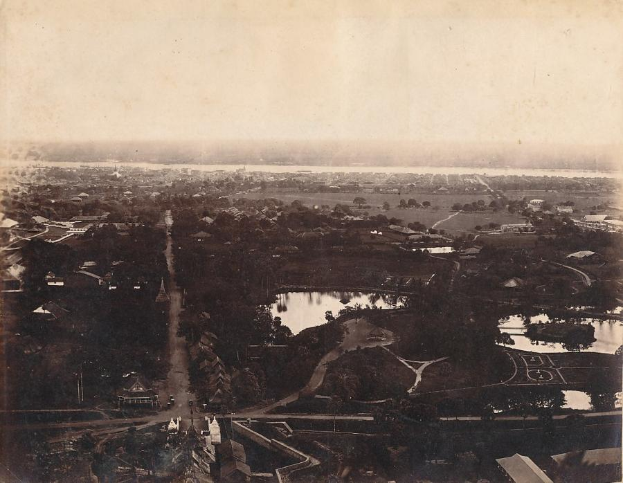 View from Pagoda Hill Rangoon Burma C1875