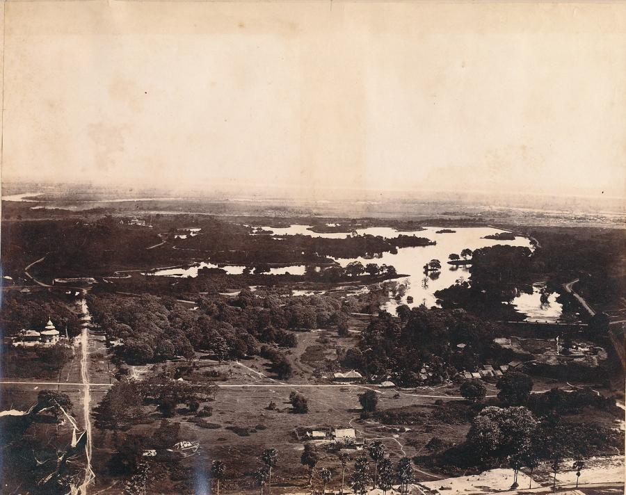 A View of the Lakes from the Pagoda Rangoon Burma C1875