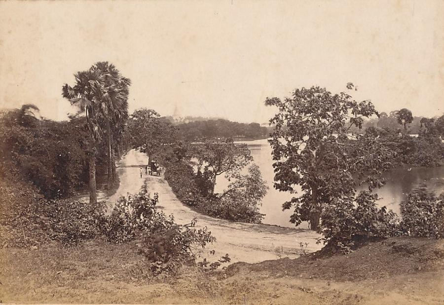 Road Around the Lake Rangoon Burma C1875