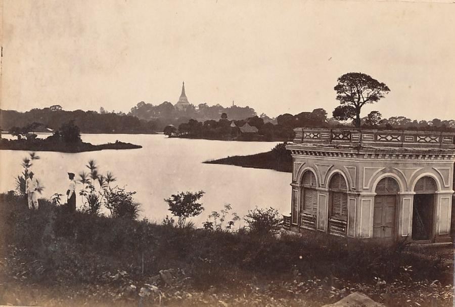 A View in Rangoon Burma C1875