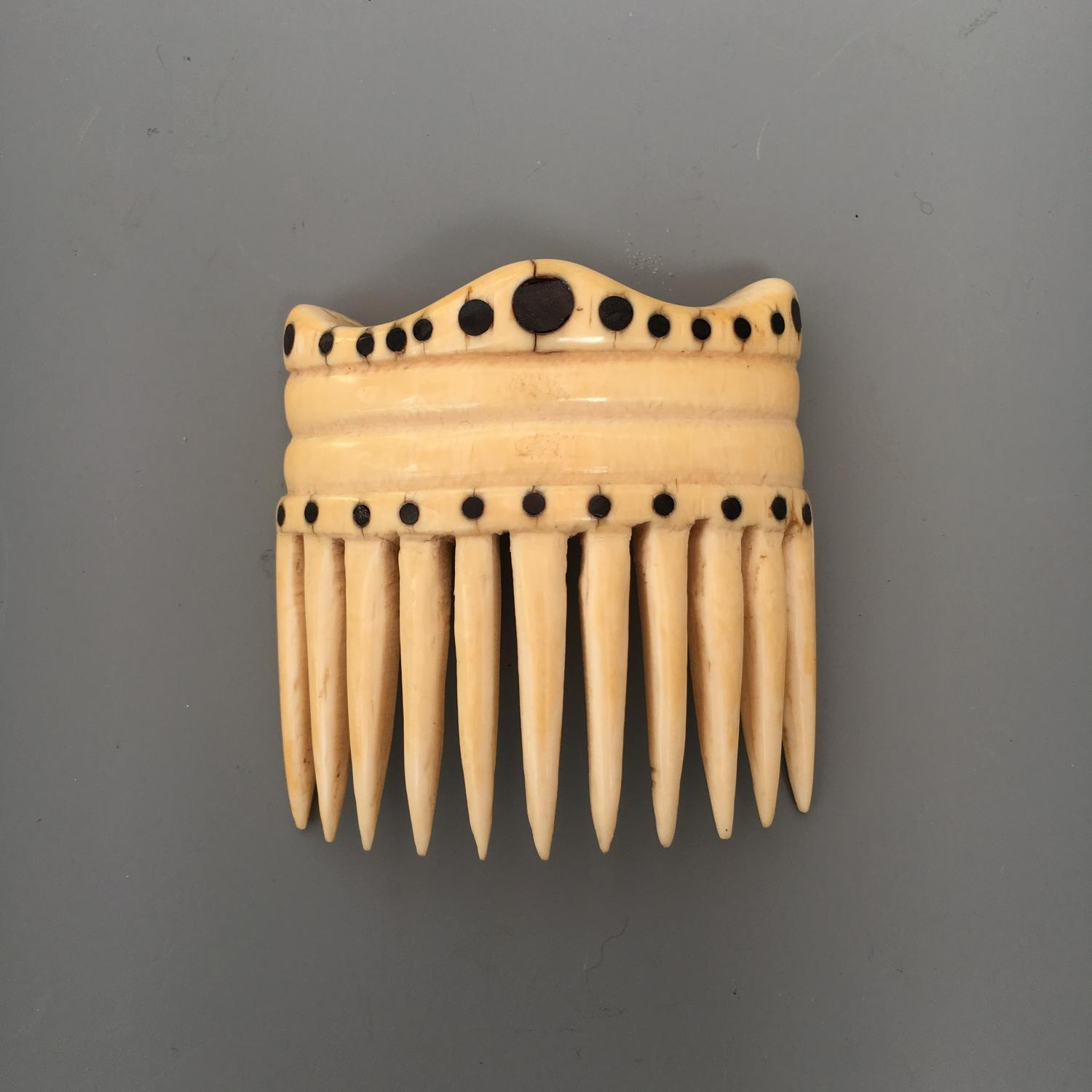 Nautical Ivory and Baleen Hair Comb 19th Century