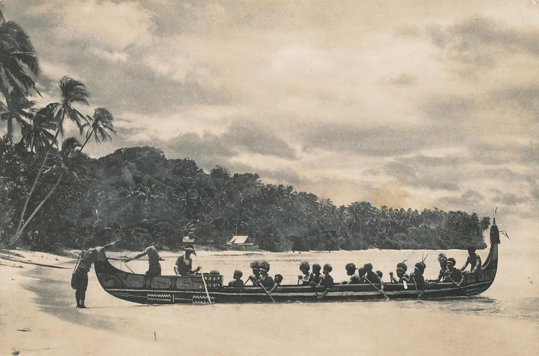Native with Canoe Solomon Island C1930