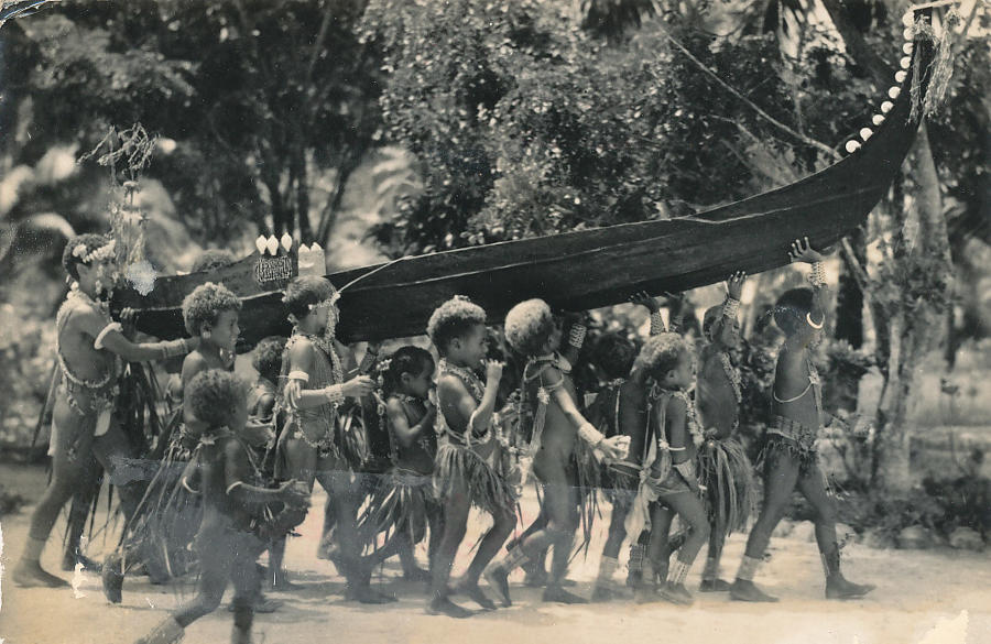 Native Children crying Canoe Solomon Island C1930