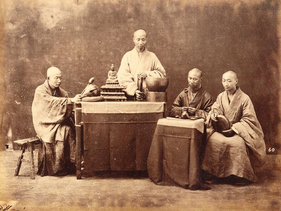 Chinese Buddhist Priests Shanghai China By William Saunders C1870
