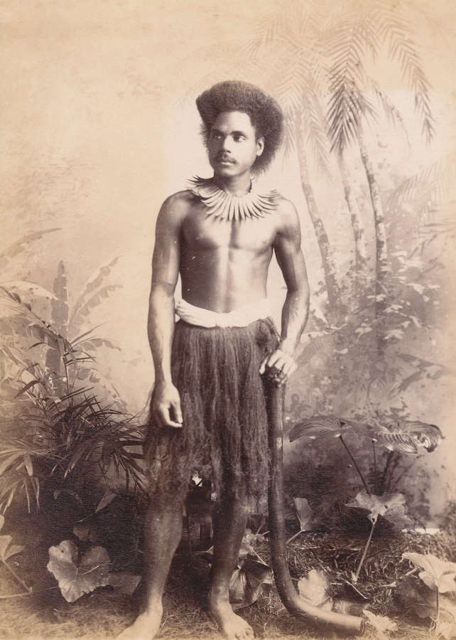 Fijian Warrior with Club Fiji C1885