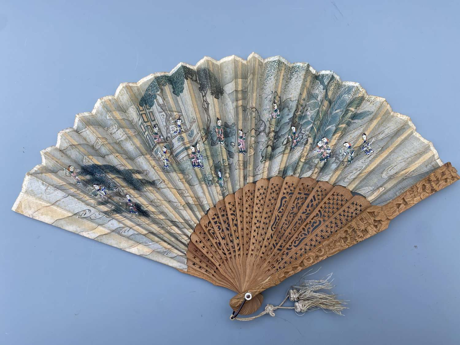 Antique Chinese hand painted Fan on carved sandalwood