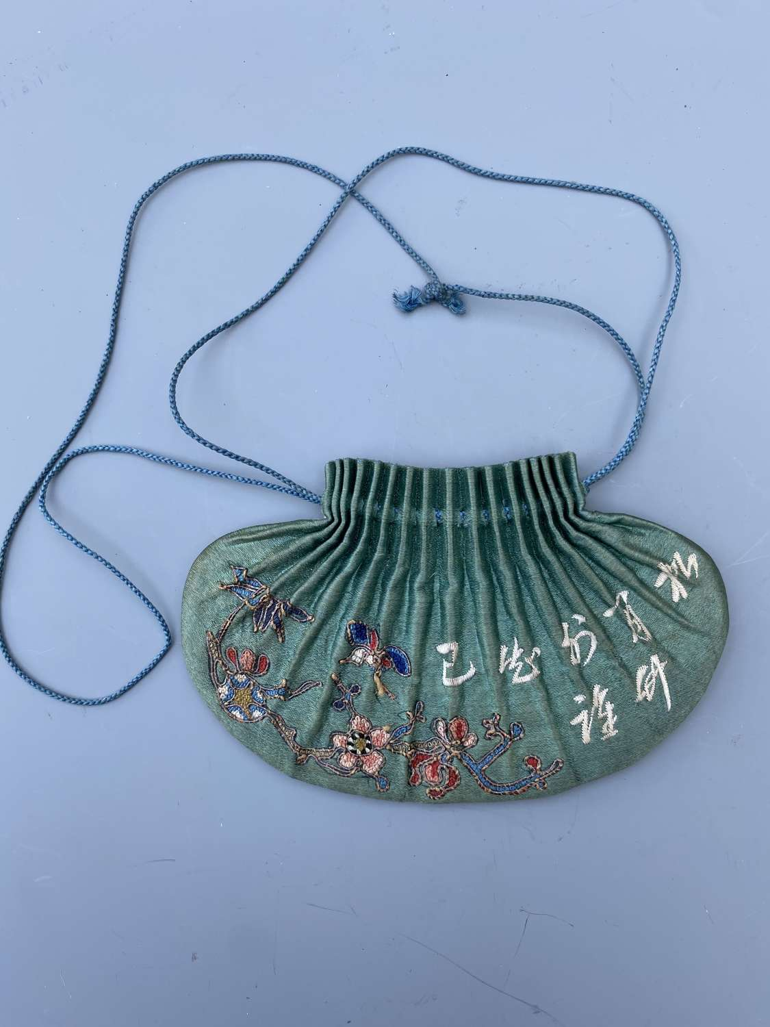 Rare Shape Chinese Silk Embroidered  Purse ( Bag ) 19th Century