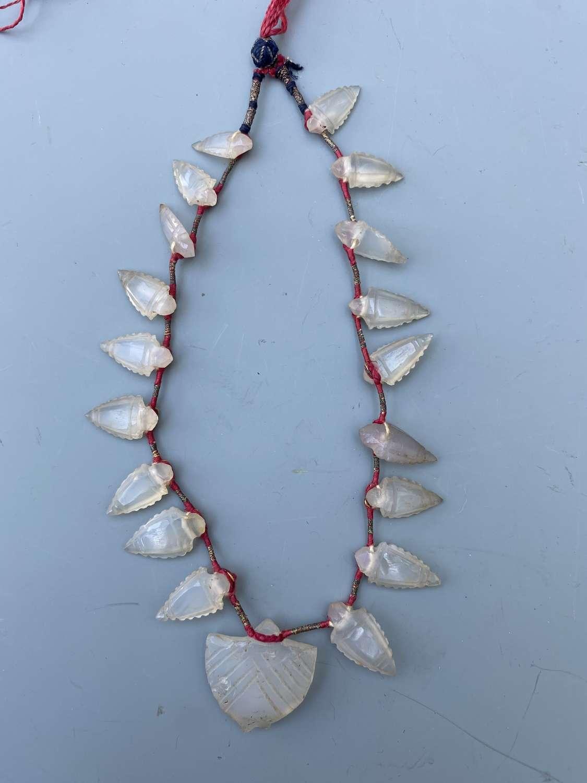 An Islamic Ancient Carnelian Agate Arrow-Head Necklace