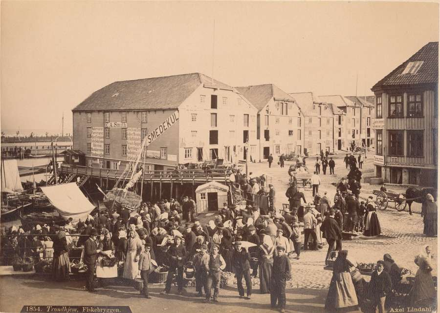 Trondheim Fish Market Norway C1885 By Axel Lindal