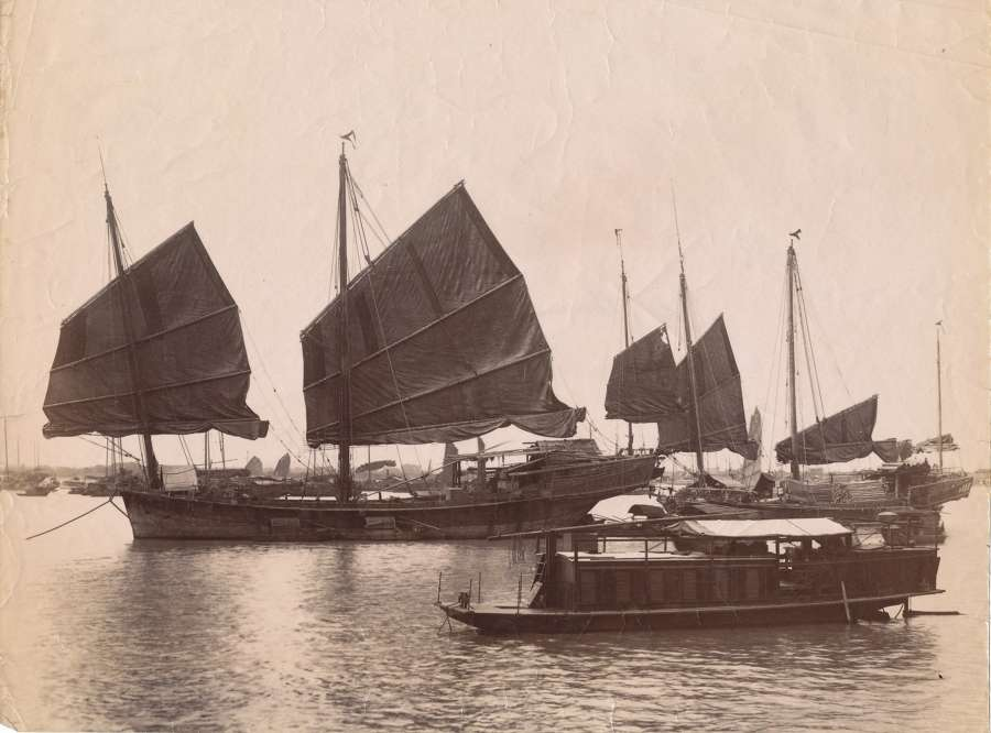Chinese Junk ( Ship ) Canton China C 1880