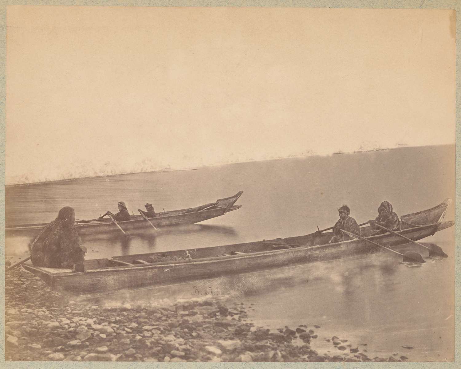 Extremely Rare of Giliak Fishermen in their Canoes Siberia C1885