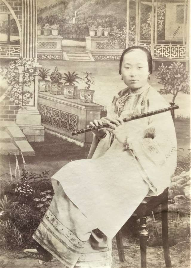 Chinese Bound Feet Lady Play a Flute China C1880