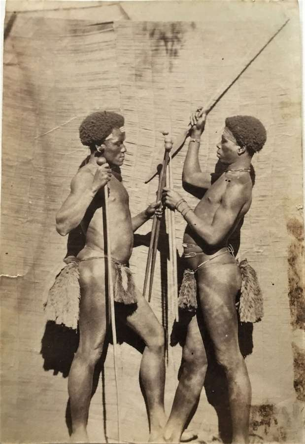 Zulu Warriors Carry Knobkerries. Staff and Spear, South Africa C1870
