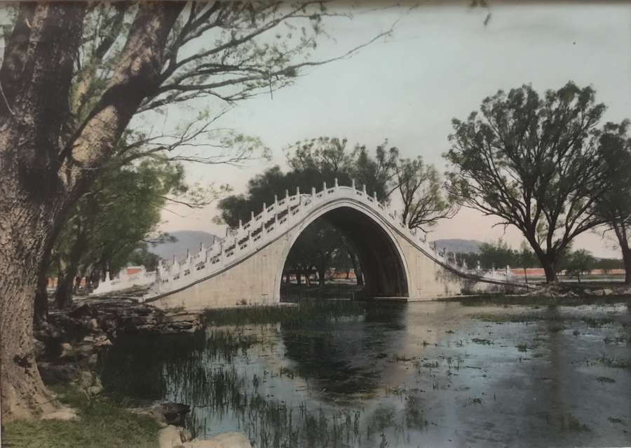 Large Format Hand Colored Photo Summer Palace Peking China C1930