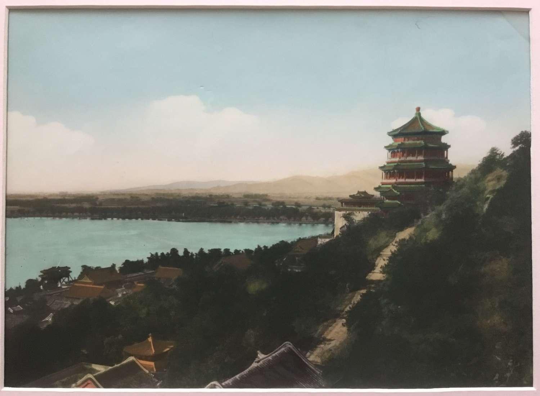 Large Format Hand Colored Photo Summer Palace Peking China C1930