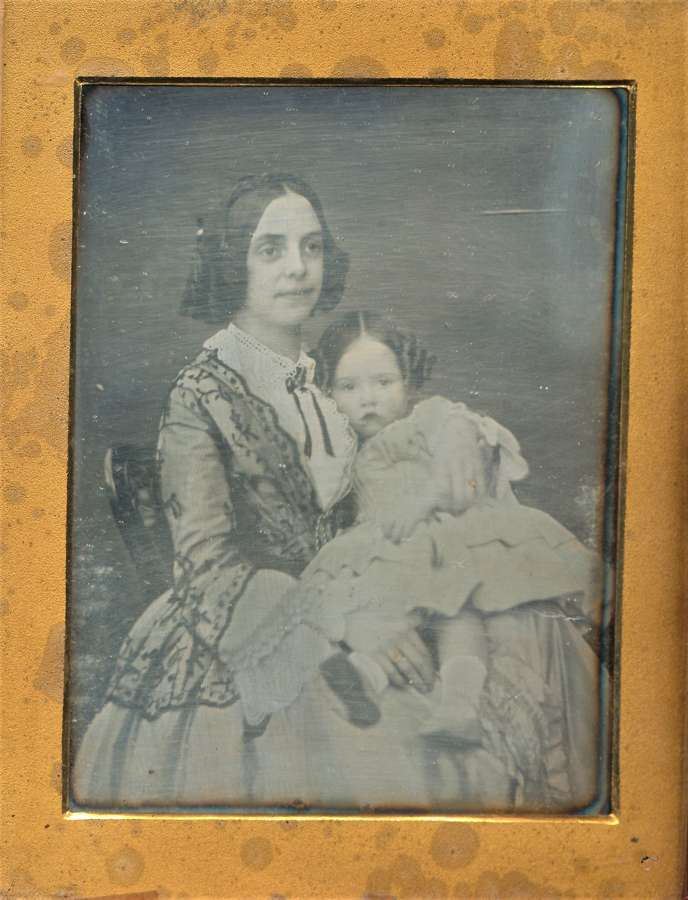 1/4 Plate Daguerreotype Mother & Daughter C1845