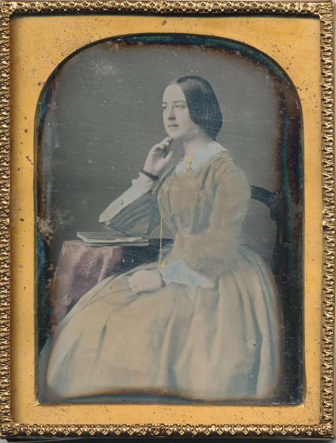 1/4 Plate Hand Tinted Daguerreotype of A Beautiful Lady C1845