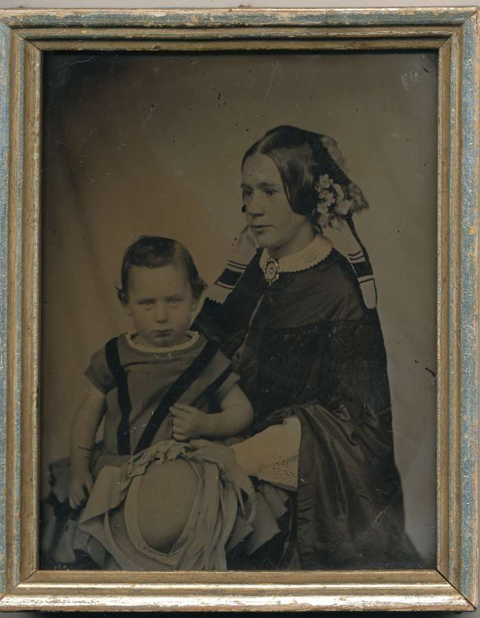1/4 Plate Ambrotype of Mother & Daughter, C1855.