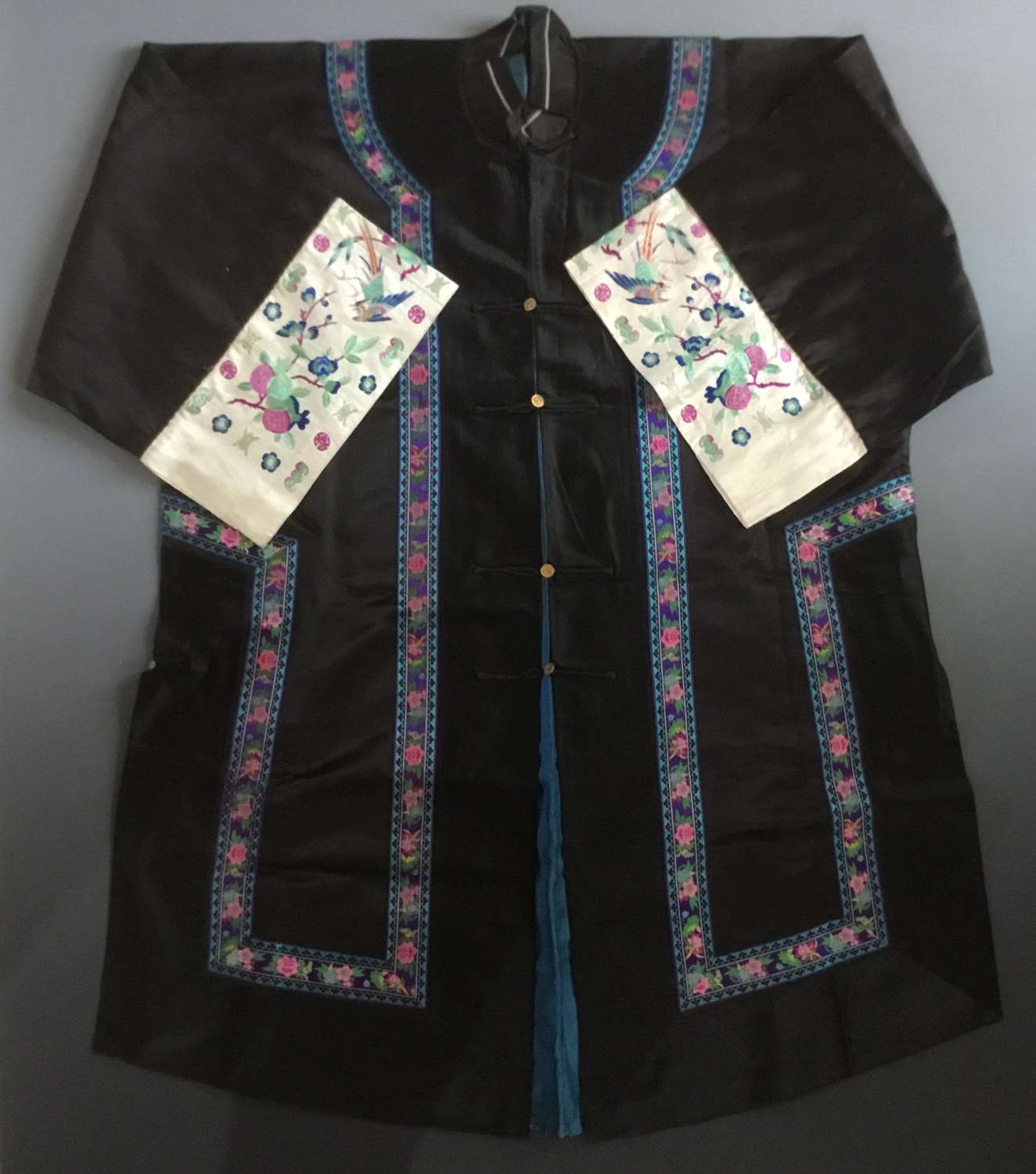 Chinese Silk Embroidered Lady's Robe, C1920
