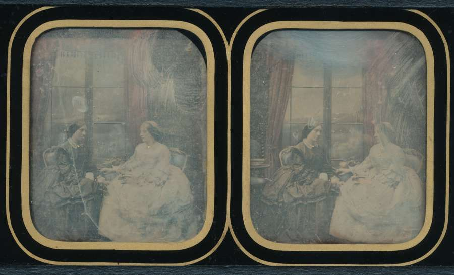 Hand Colored Stereoscopic Daguerreotype Antoine Claudet 1852-60