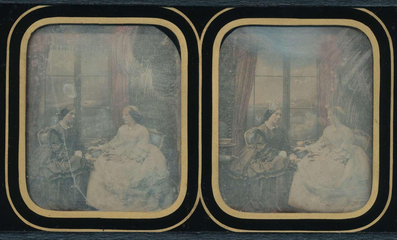 Hand Colored StereoscopicDaguerreotype Antoine Claudet 1852-60