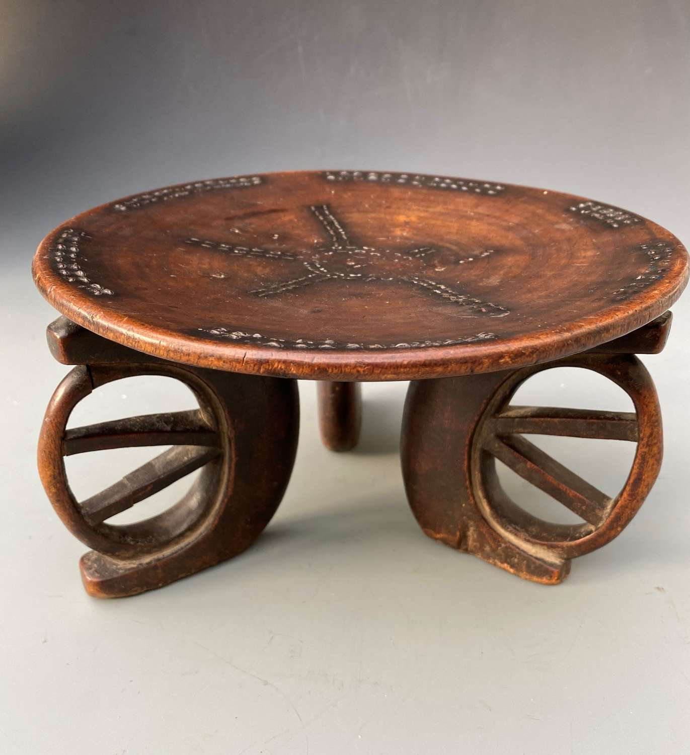 Beautiful carved three Legged Kamba Stool  Kenyan