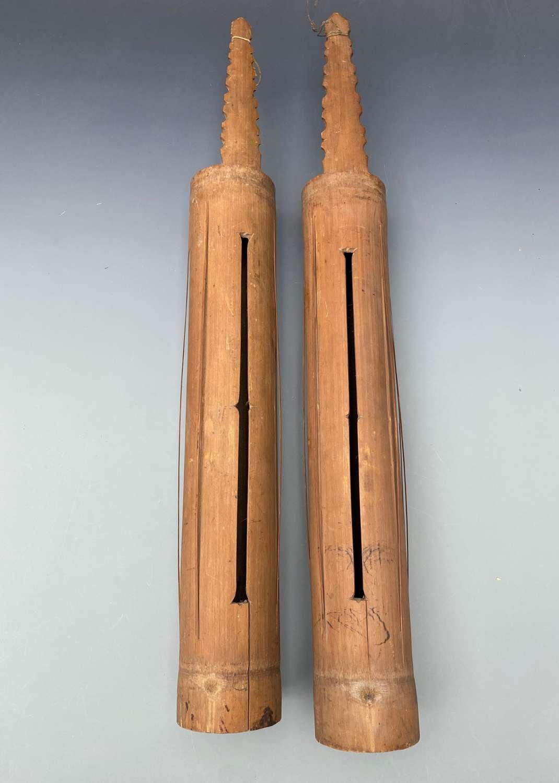 Pair of Dayak Bamboo Tube Zithers BorneoIndonesia.
