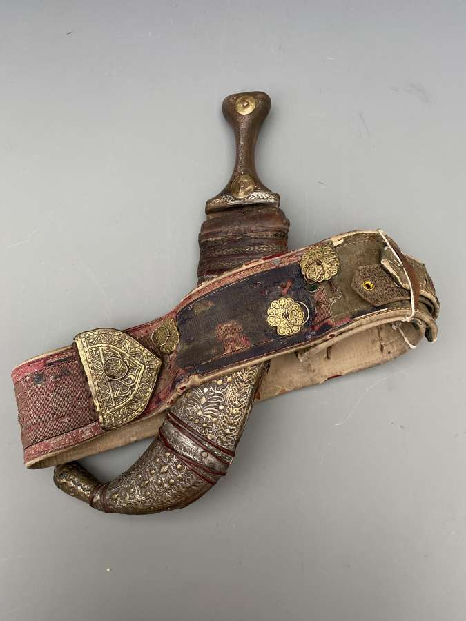 AN ARAB DAGGER (JAMBIYA) with Belt Early 20th Century